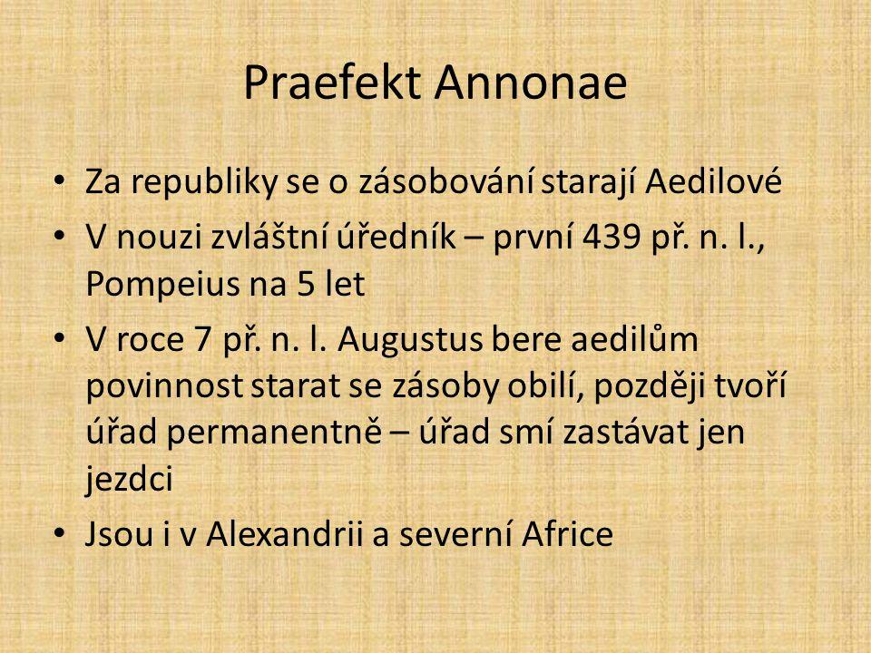 Praefekt Annonae Za republiky se o zásobování starají Aedilové V nouzi zvláštní úředník – první 439 př. n. l., Pompeius na 5 let V roce 7 př. n. l. Au