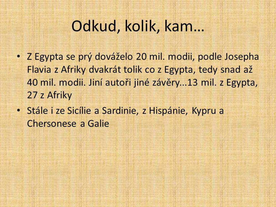 Odkud, kolik, kam… Z Egypta se prý dováželo 20 mil. modii, podle Josepha Flavia z Afriky dvakrát tolik co z Egypta, tedy snad až 40 mil. modii. Jiní a