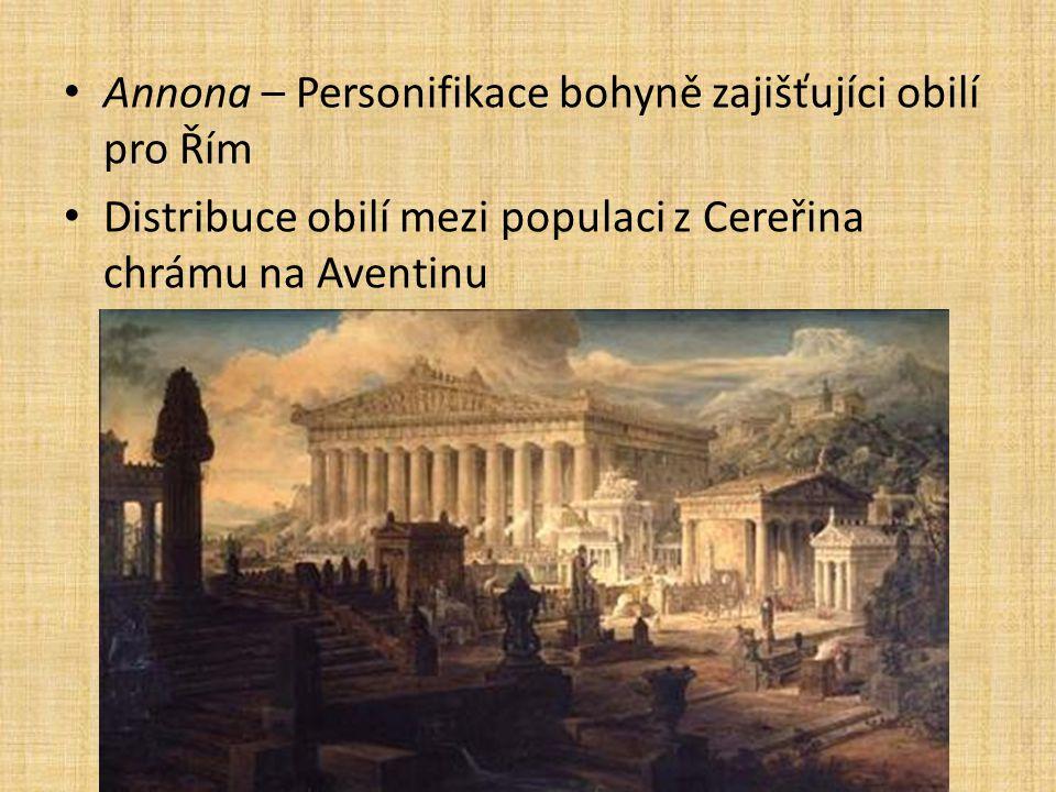 Annona – Personifikace bohyně zajišťujíci obilí pro Řím Distribuce obilí mezi populaci z Cereřina chrámu na Aventinu