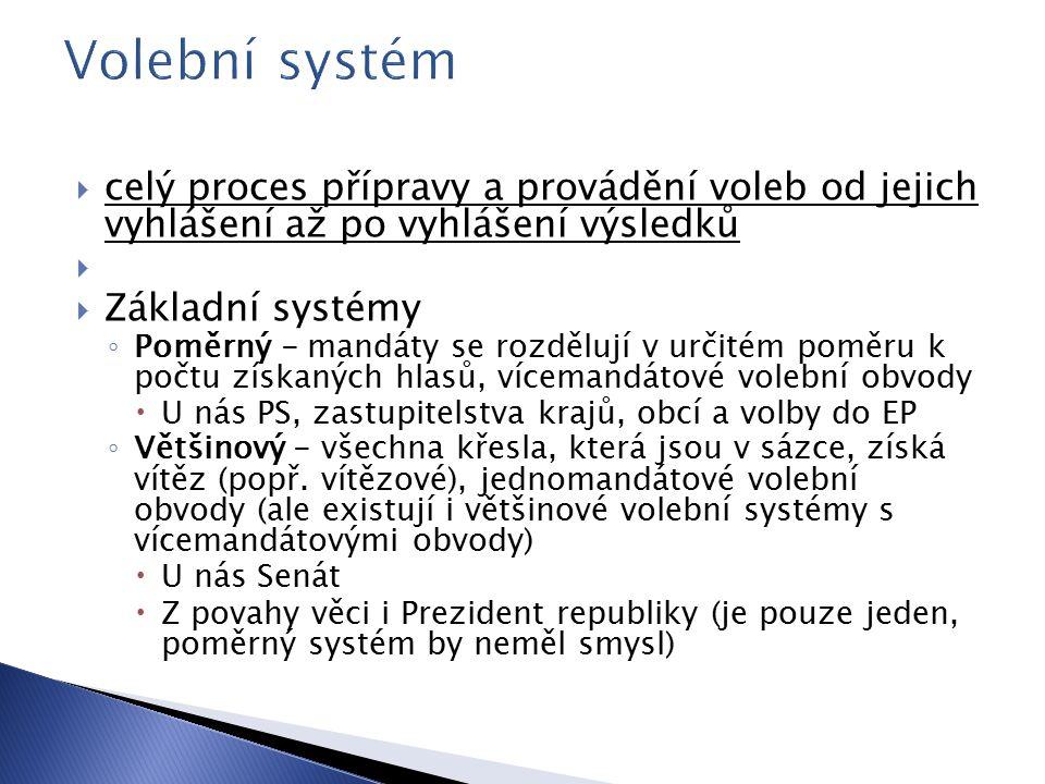  celý proces přípravy a provádění voleb od jejich vyhlášení až po vyhlášení výsledků   Základní systémy ◦ Poměrný - mandáty se rozdělují v určitém poměru k počtu získaných hlasů, vícemandátové volební obvody  U nás PS, zastupitelstva krajů, obcí a volby do EP ◦ Většinový - všechna křesla, která jsou v sázce, získá vítěz (popř.