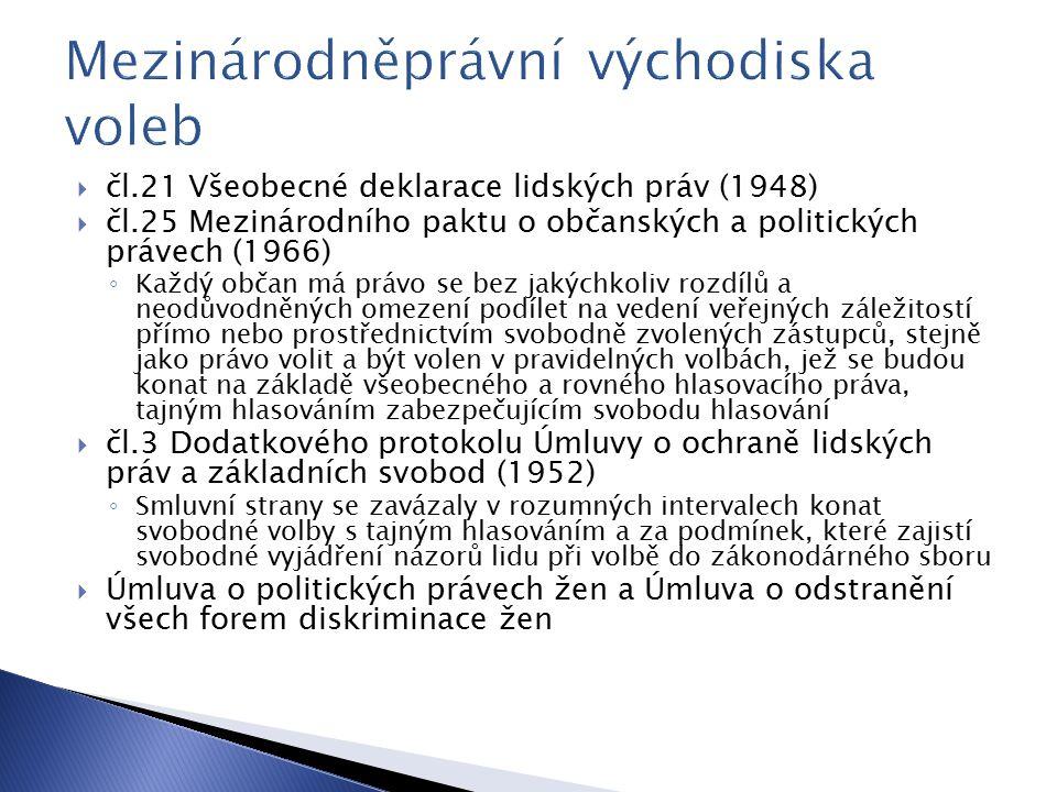  čl.21 Všeobecné deklarace lidských práv (1948)  čl.25 Mezinárodního paktu o občanských a politických právech (1966) ◦ Každý občan má právo se bez jakýchkoliv rozdílů a neodůvodněných omezení podílet na vedení veřejných záležitostí přímo nebo prostřednictvím svobodně zvolených zástupců, stejně jako právo volit a být volen v pravidelných volbách, jež se budou konat na základě všeobecného a rovného hlasovacího práva, tajným hlasováním zabezpečujícím svobodu hlasování  čl.3 Dodatkového protokolu Úmluvy o ochraně lidských práv a základních svobod (1952) ◦ Smluvní strany se zavázaly v rozumných intervalech konat svobodné volby s tajným hlasováním a za podmínek, které zajistí svobodné vyjádření názorů lidu při volbě do zákonodárného sboru  Úmluva o politických právech žen a Úmluva o odstranění všech forem diskriminace žen
