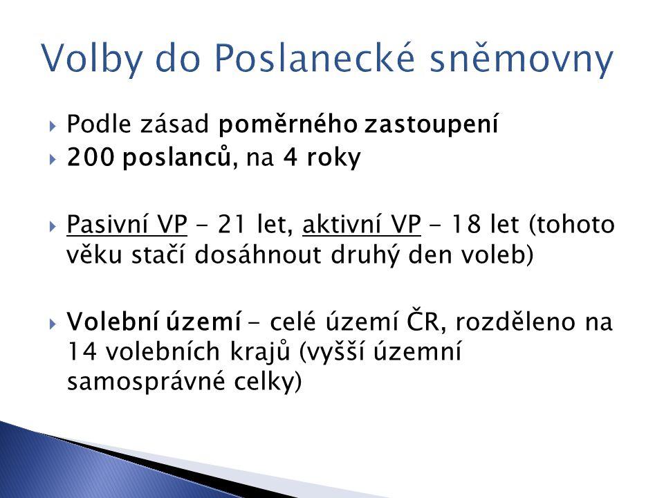 Podle zásad poměrného zastoupení  200 poslanců, na 4 roky  Pasivní VP - 21 let, aktivní VP - 18 let (tohoto věku stačí dosáhnout druhý den voleb)  Volební území - celé území ČR, rozděleno na 14 volebních krajů (vyšší územní samosprávné celky)