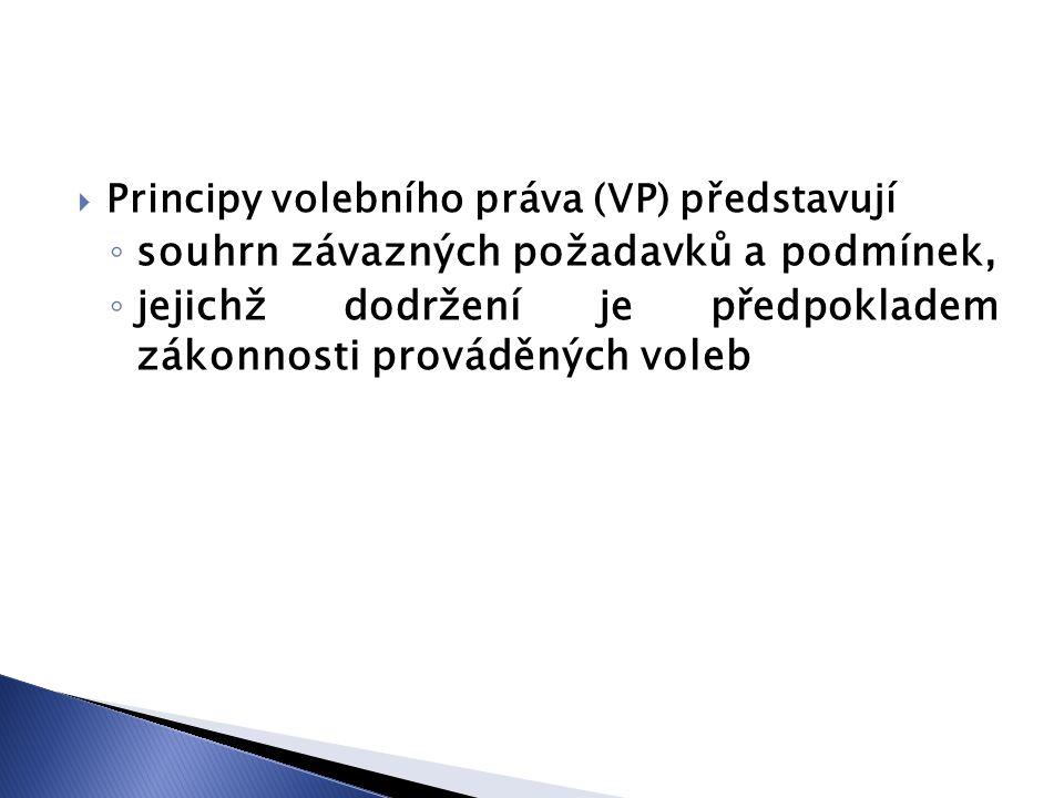  Principy volebního práva (VP) představují ◦ souhrn závazných požadavků a podmínek, ◦ jejichž dodržení je předpokladem zákonnosti prováděných voleb