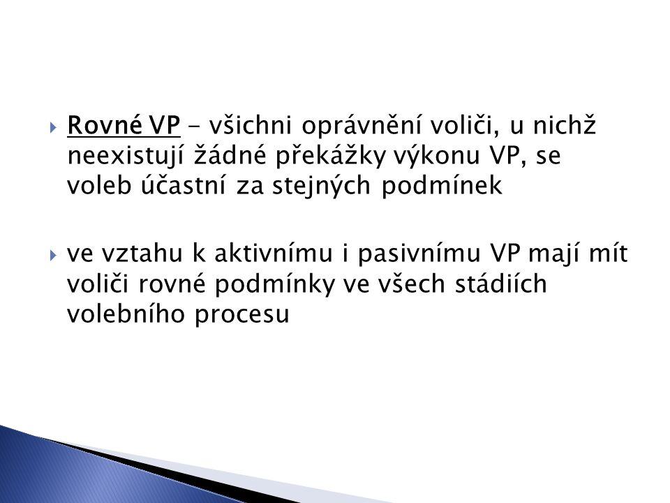  Rovné VP - všichni oprávnění voliči, u nichž neexistují žádné překážky výkonu VP, se voleb účastní za stejných podmínek  ve vztahu k aktivnímu i pasivnímu VP mají mít voliči rovné podmínky ve všech stádiích volebního procesu