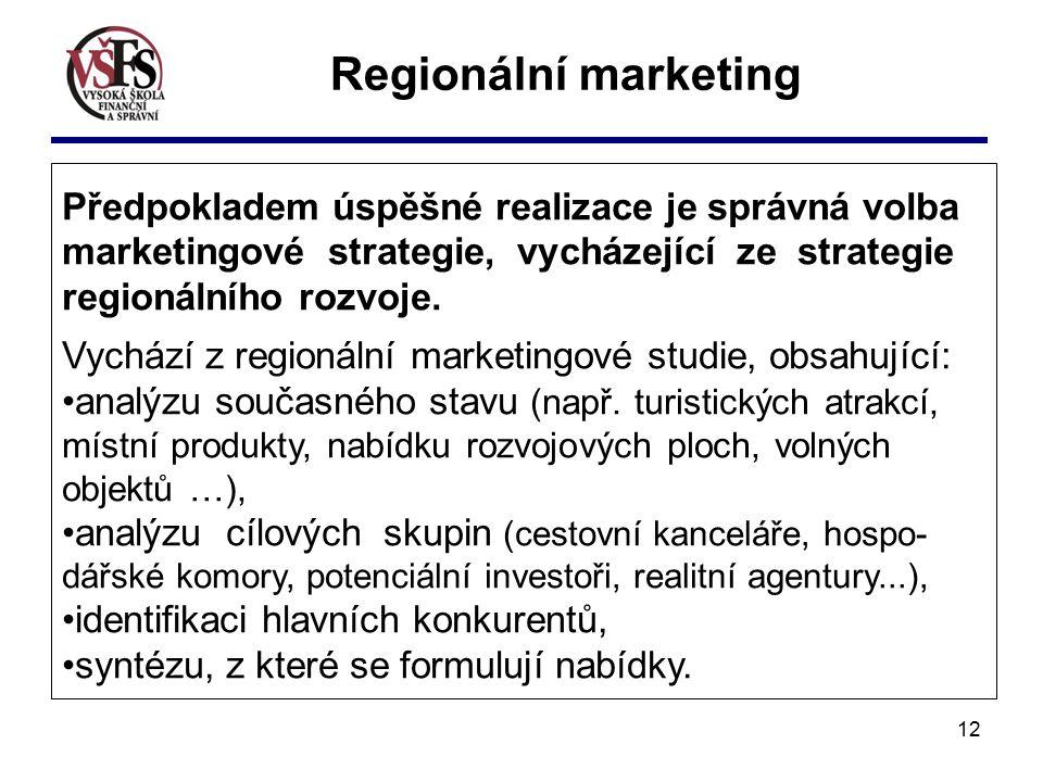 Předpokladem úspěšné realizace je správná volba marketingové strategie, vycházející ze strategie regionálního rozvoje.