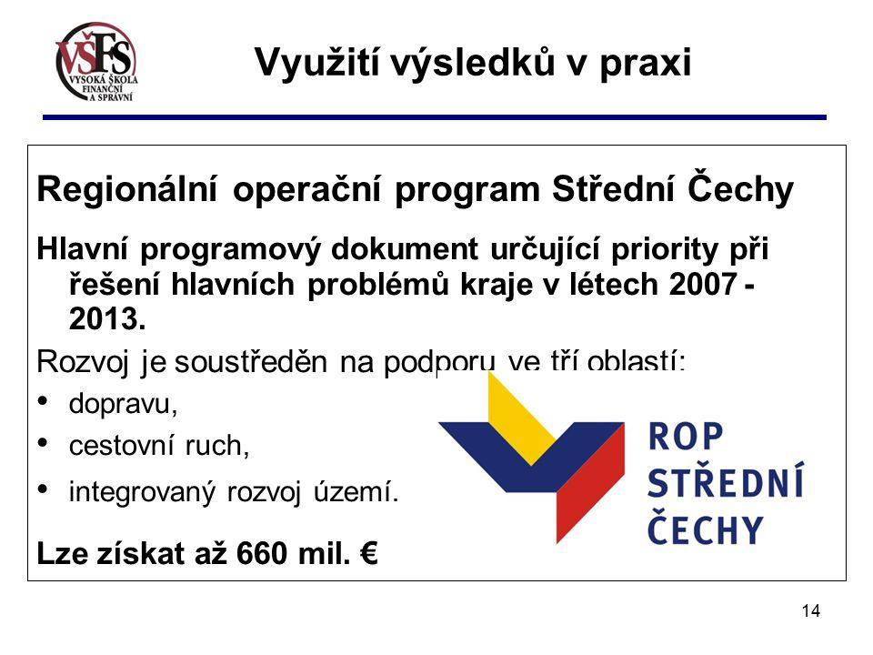 14 Regionální operační program Střední Čechy Hlavní programový dokument určující priority při řešení hlavních problémů kraje v létech 2007 - 2013.