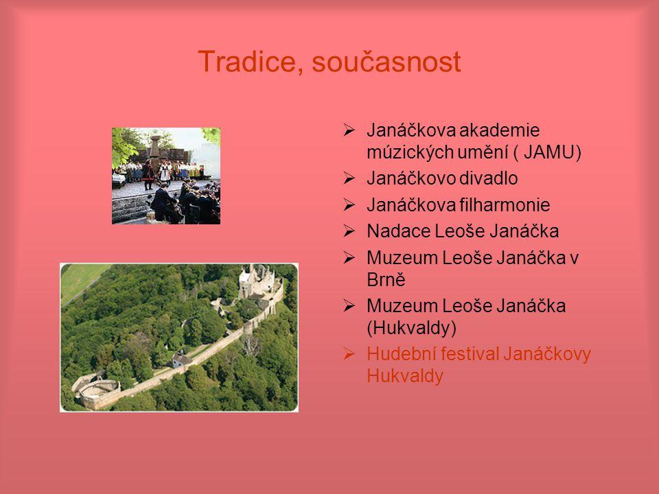 Tradice, současnost  Janáčkova akademie múzických umění ( JAMU)  Janáčkovo divadlo  Janáčkova filharmonie  Nadace Leoše Janáčka  Muzeum Leoše Jan