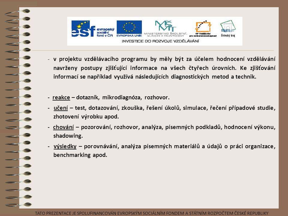 -v projektu vzdělávacího programu by měly být za účelem hodnocení vzdělávání navrženy postupy zjišťující informace na všech čtyřech úrovních. Ke zjišť