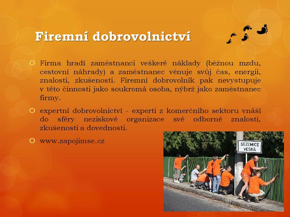 Firemní dobrovolnictví  Firma hradí zaměstnanci veškeré náklady (běžnou mzdu, cestovní náhrady) a zaměstnanec věnuje svůj čas, energii, znalosti, zkušenosti.