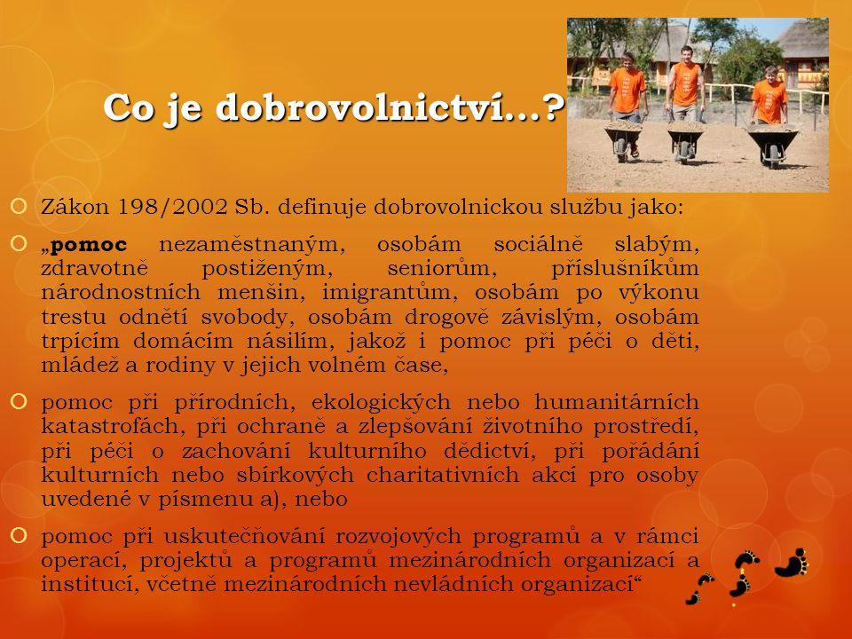 Co je dobrovolnictví….  Zákon 198/2002 Sb.