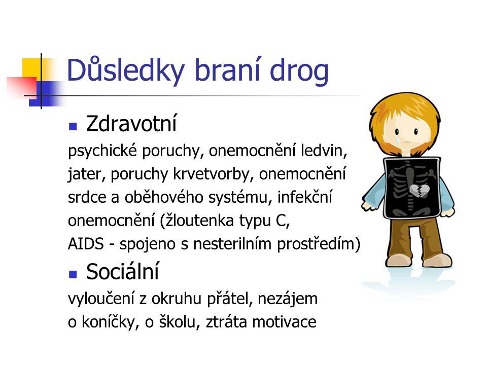 Důsledky braní drog Zdravotní psychické poruchy, onemocnění ledvin, jater, poruchy krvetvorby, onemocnění srdce a oběhového systému, infekční onemocně
