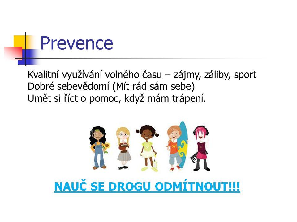 Prevence NAUČ SE DROGU ODMÍTNOUT!!! Kvalitní využívání volného času – zájmy, záliby, sport Dobré sebevědomí (Mít rád sám sebe) Umět si říct o pomoc, k