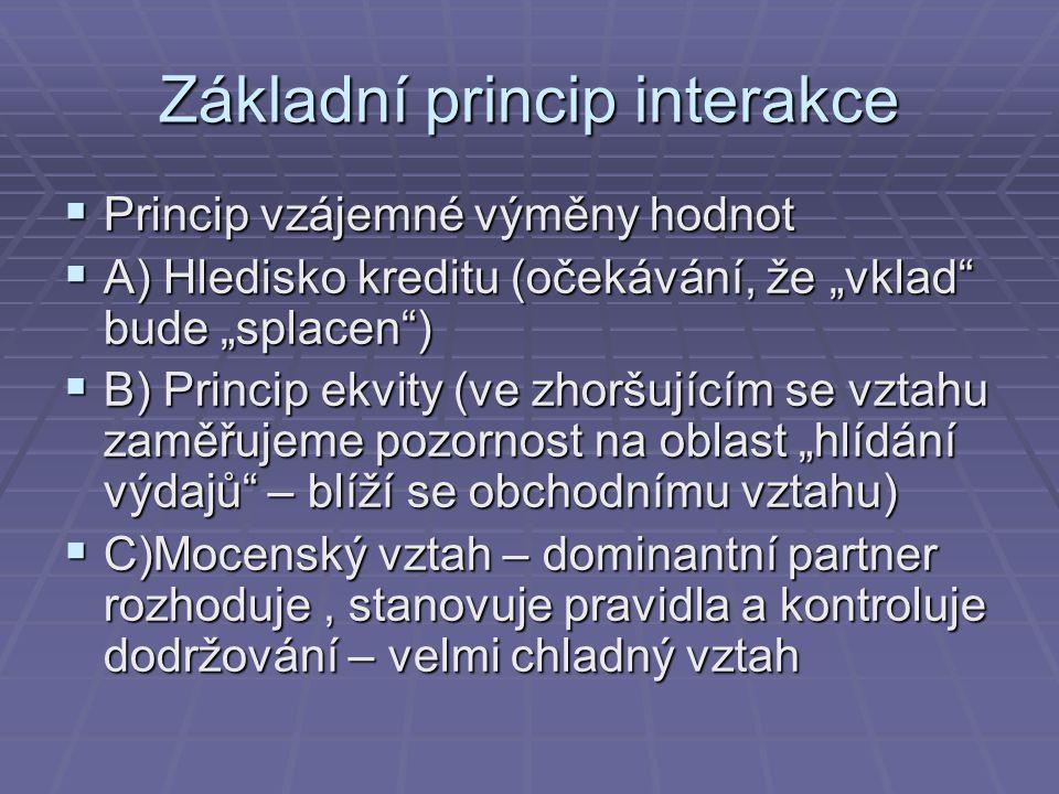 """Základní princip interakce  Princip vzájemné výměny hodnot  A) Hledisko kreditu (očekávání, že """"vklad"""" bude """"splacen"""")  B) Princip ekvity (ve zhorš"""