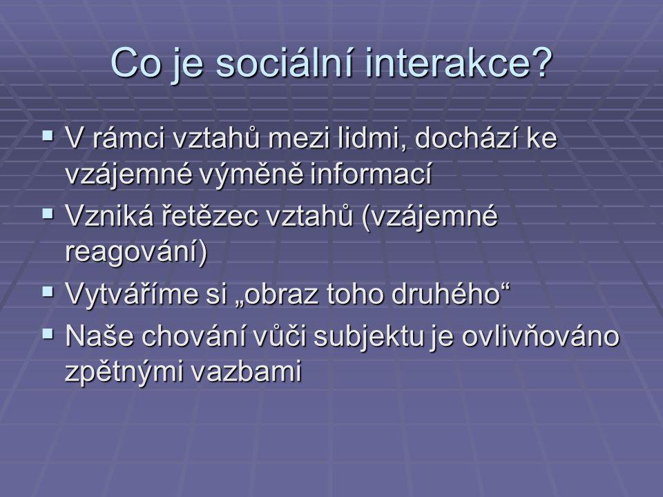Co je sociální interakce?  V rámci vztahů mezi lidmi, dochází ke vzájemné výměně informací  Vzniká řetězec vztahů (vzájemné reagování)  Vytváříme s