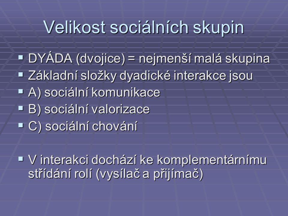 Velikost sociálních skupin  DYÁDA (dvojice) = nejmenší malá skupina  Základní složky dyadické interakce jsou  A) sociální komunikace  B) sociální