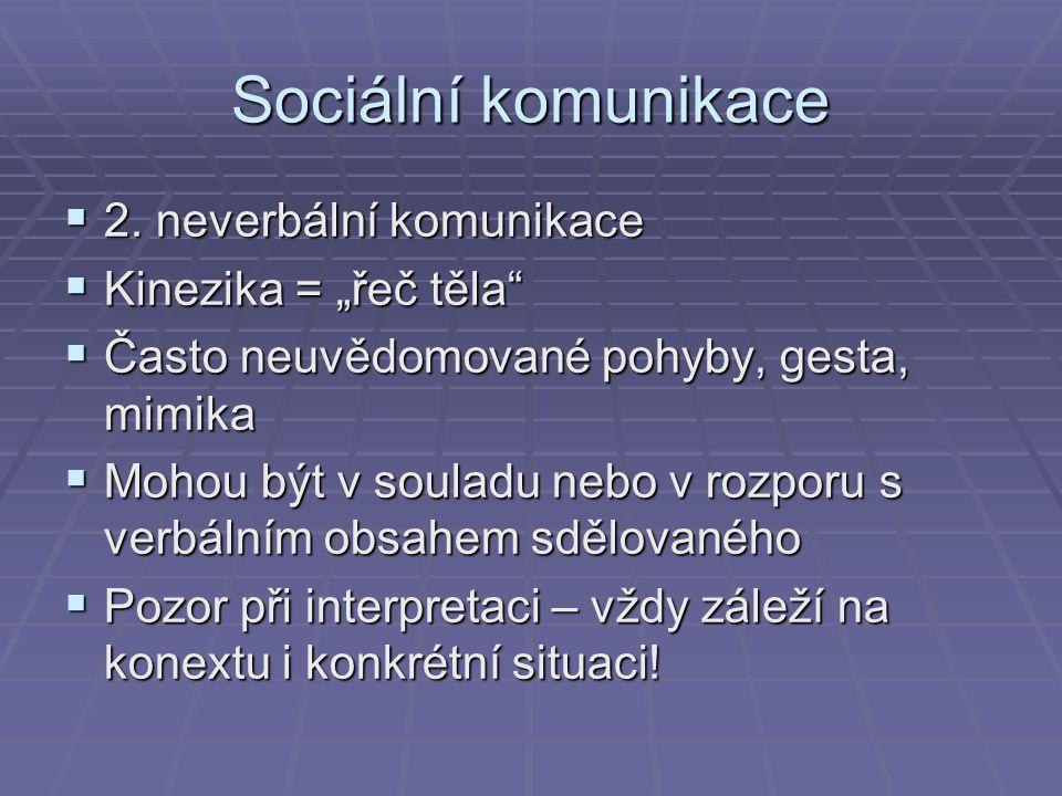 Neverbální komunikace A.zrakový kontakt  - př.