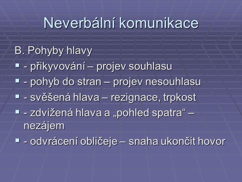 Neverbální komunikace B. Pohyby hlavy  - přikyvování – projev souhlasu  - pohyb do stran – projev nesouhlasu  - svěšená hlava – rezignace, trpkost