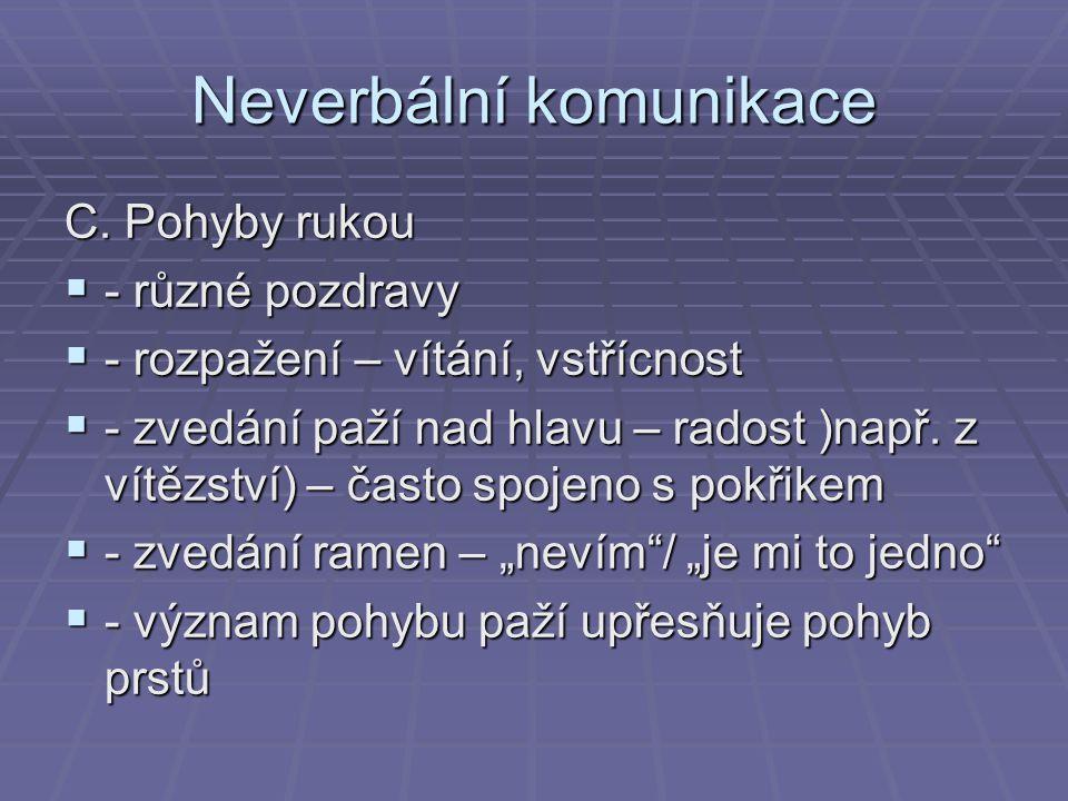 Neverbální komunikace D.