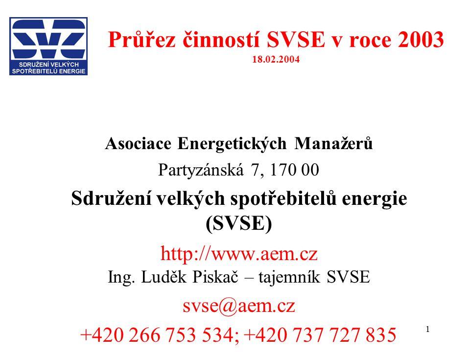 1 Průřez činností SVSE v roce 2003 18.02.2004 Asociace Energetických Manažerů Partyzánská 7, 170 00 Sdružení velkých spotřebitelů energie (SVSE) http://www.aem.cz Ing.