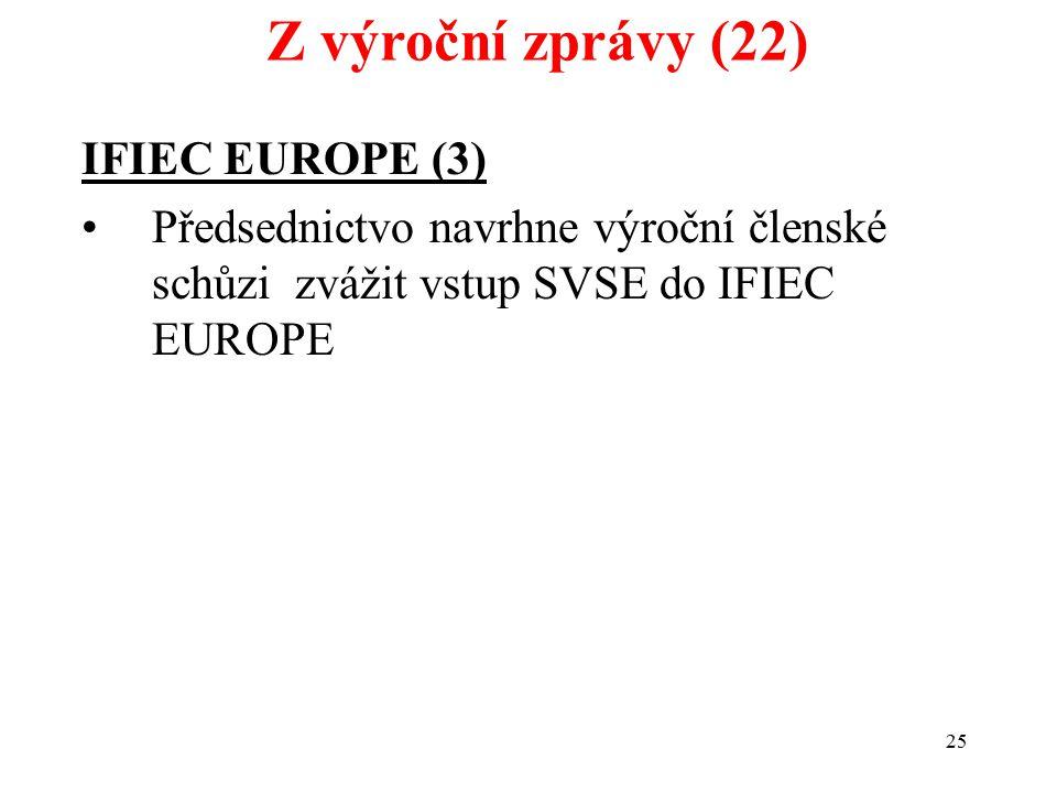 25 IFIEC EUROPE (3) Předsednictvo navrhne výroční členské schůzi zvážit vstup SVSE do IFIEC EUROPE Z výroční zprávy (22)