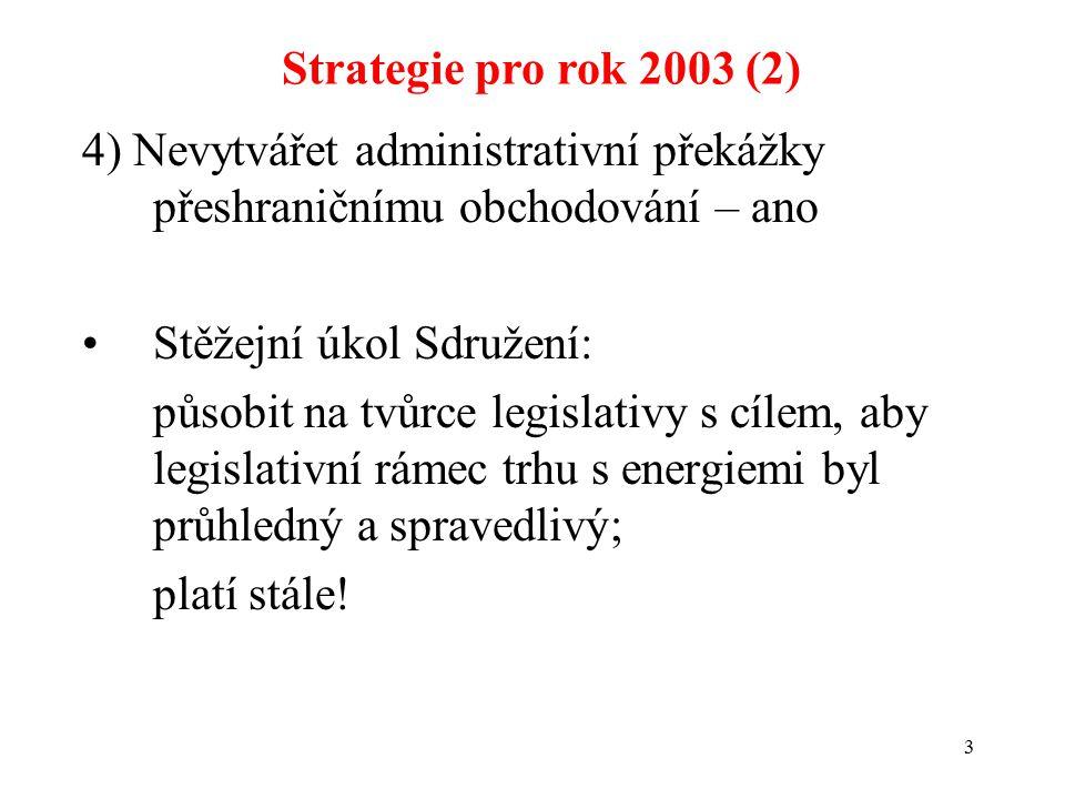 3 4) Nevytvářet administrativní překážky přeshraničnímu obchodování – ano Stěžejní úkol Sdružení: působit na tvůrce legislativy s cílem, aby legislativní rámec trhu s energiemi byl průhledný a spravedlivý; platí stále.