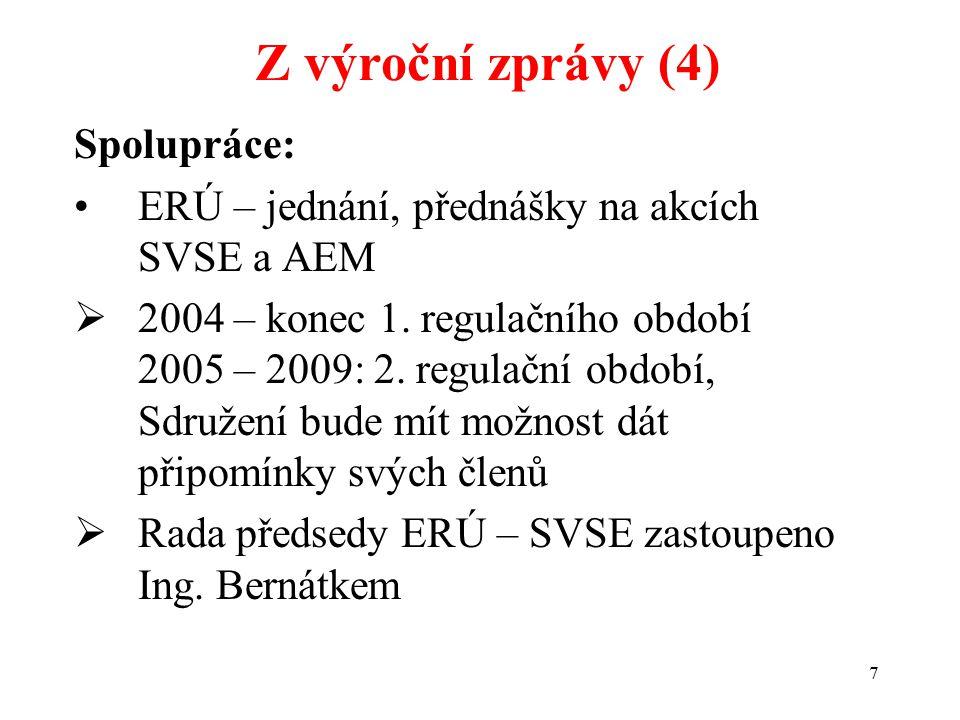 7 Spolupráce: ERÚ – jednání, přednášky na akcích SVSE a AEM  2004 – konec 1.
