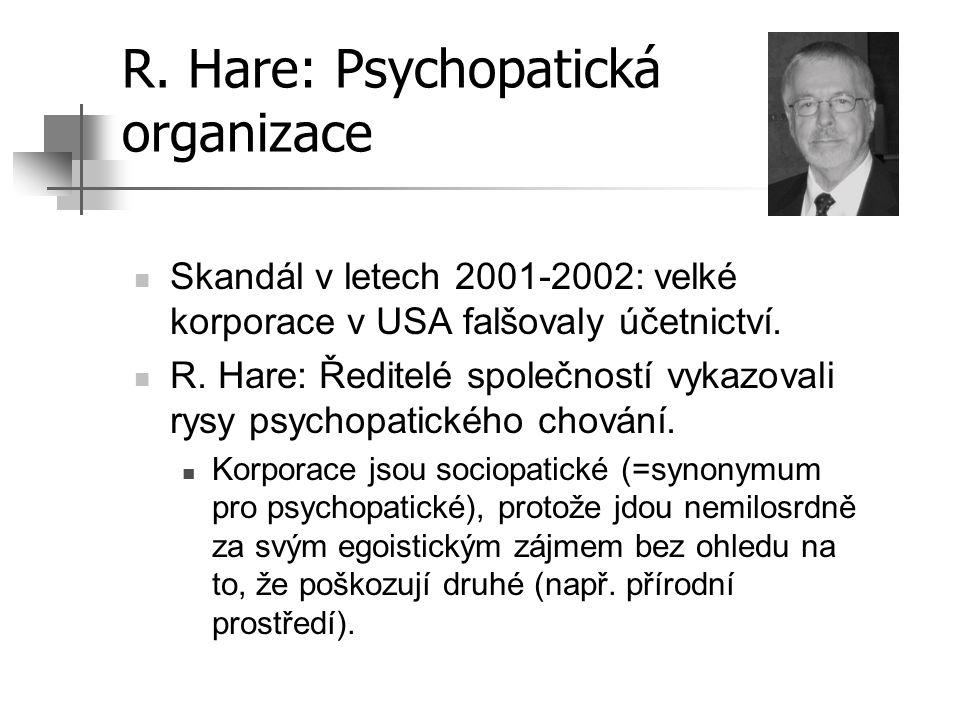 R. Hare: Psychopatická organizace Skandál v letech 2001-2002: velké korporace v USA falšovaly účetnictví. R. Hare: Ředitelé společností vykazovali rys