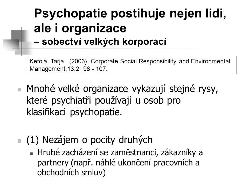 Psychopatie postihuje nejen lidi, ale i organizace – sobectví velkých korporací Mnohé velké organizace vykazují stejné rysy, které psychiatři používaj