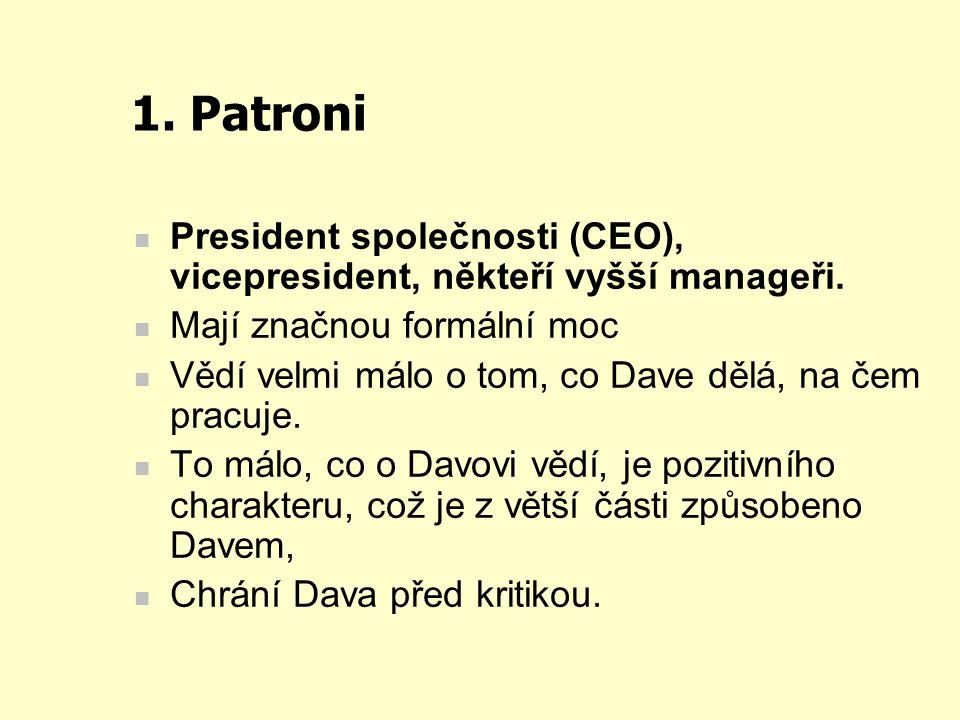 1. Patroni President společnosti (CEO), vicepresident, někteří vyšší manageři. Mají značnou formální moc Vědí velmi málo o tom, co Dave dělá, na čem p