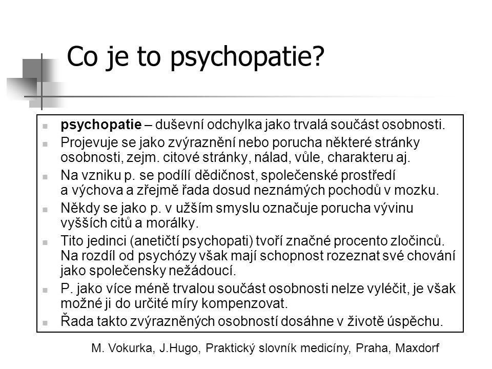 Co je to psychopatie? psychopatie – duševní odchylka jako trvalá součást osobnosti. Projevuje se jako zvýraznění nebo porucha některé stránky osobnost