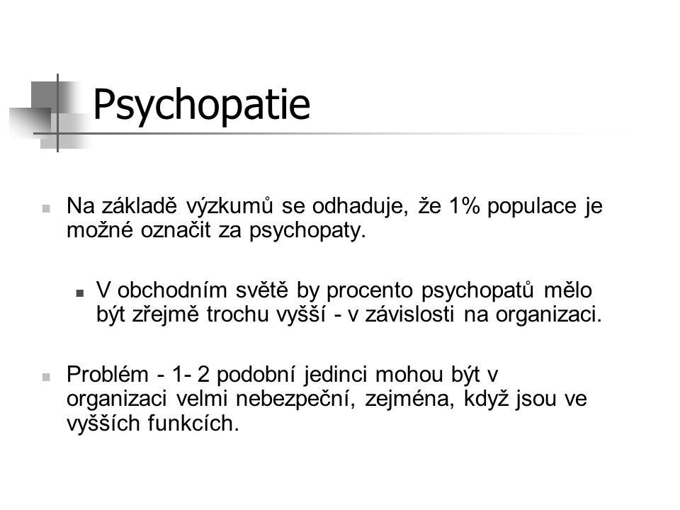Tři hlavní typy psychopatů: (1) Lhář, podvodník (2) Tyran, násilník Nemusí se vůbec jednat o o fyzické násilí, může se jednat o velmi skryté zastrašování (3) Manipulátor Znalec lidského chování, manipuluje s lidmi a ti za něj dělají špinavou práci.