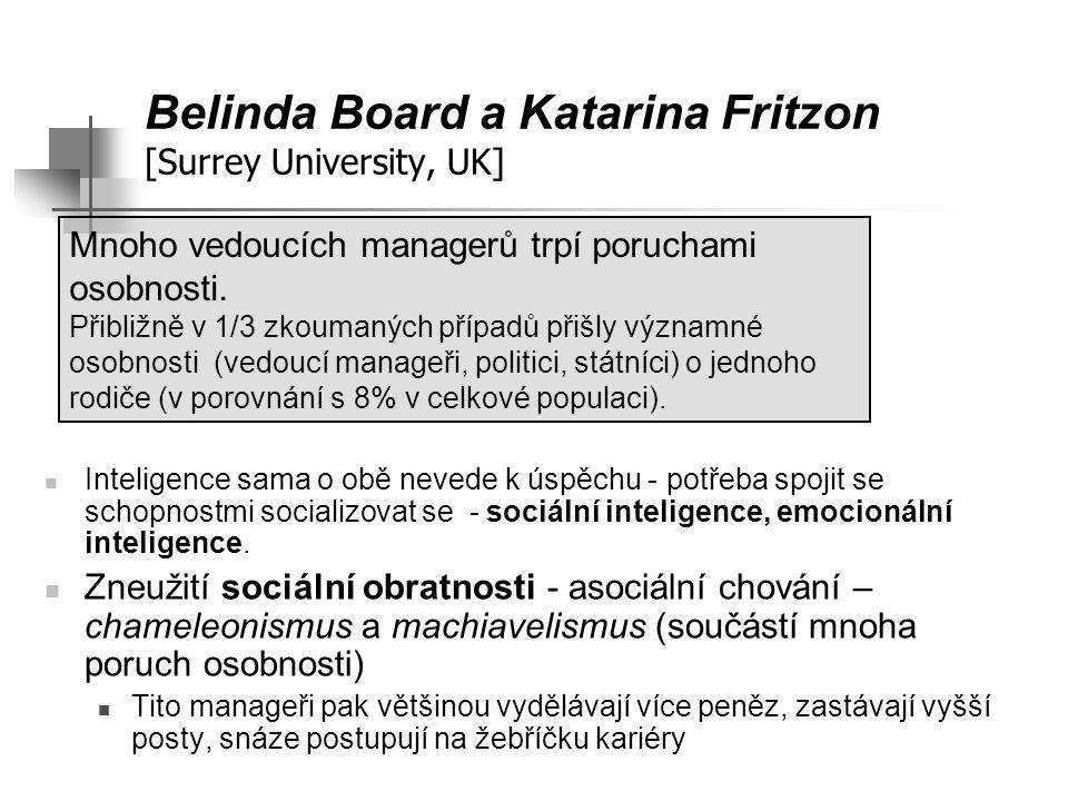 Belinda Board a Katarina Fritzon [Surrey University, UK] Inteligence sama o obě nevede k úspěchu - potřeba spojit se schopnostmi socializovat se - soc