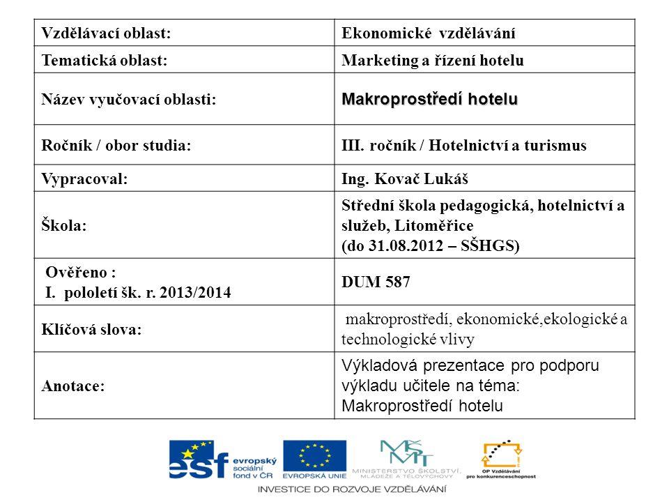 Vzdělávací oblast:Ekonomické vzdělávání Tematická oblast:Marketing a řízení hotelu Název vyučovací oblasti: Makroprostředí hotelu Ročník / obor studia
