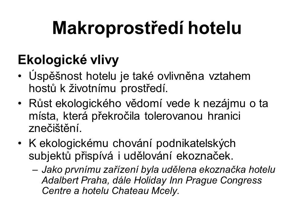 Makroprostředí hotelu Ekologické vlivy Úspěšnost hotelu je také ovlivněna vztahem hostů k životnímu prostředí. Růst ekologického vědomí vede k nezájmu