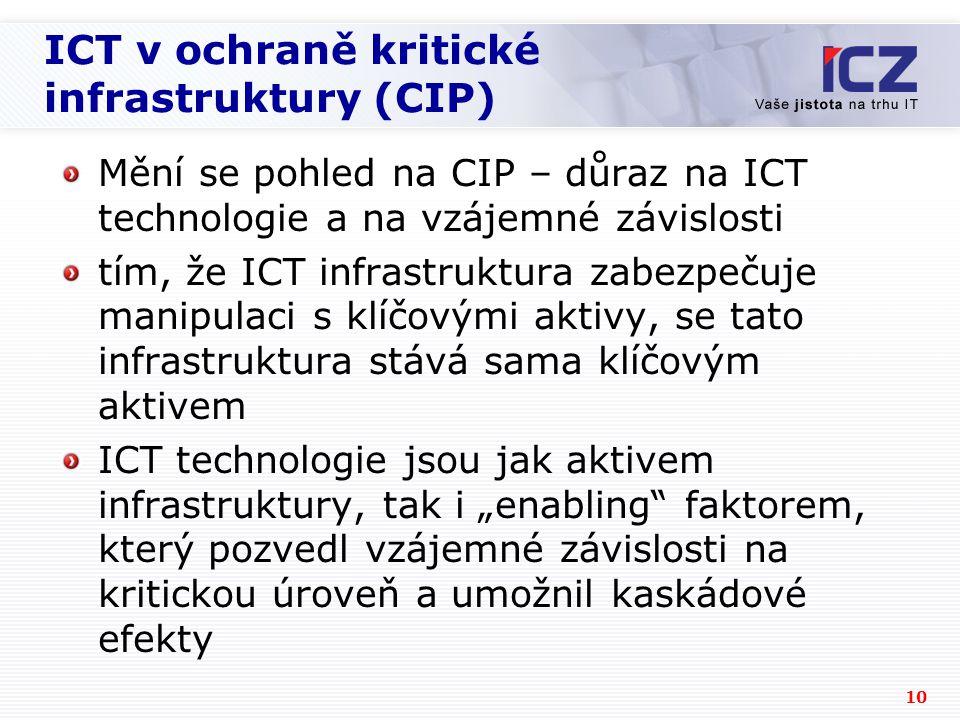"""10 ICT v ochraně kritické infrastruktury (CIP) Mění se pohled na CIP – důraz na ICT technologie a na vzájemné závislosti tím, že ICT infrastruktura zabezpečuje manipulaci s klíčovými aktivy, se tato infrastruktura stává sama klíčovým aktivem ICT technologie jsou jak aktivem infrastruktury, tak i """"enabling faktorem, který pozvedl vzájemné závislosti na kritickou úroveň a umožnil kaskádové efekty"""