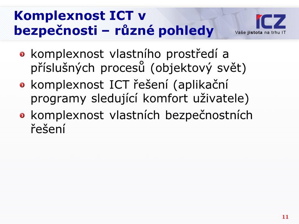 11 Komplexnost ICT v bezpečnosti – různé pohledy komplexnost vlastního prostředí a příslušných procesů (objektový svět) komplexnost ICT řešení (aplikační programy sledující komfort uživatele) komplexnost vlastních bezpečnostních řešení