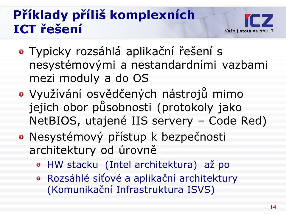 14 Příklady příliš komplexních ICT řešení Typicky rozsáhlá aplikační řešení s nesystémovými a nestandardními vazbami mezi moduly a do OS Využívání osvědčených nástrojů mimo jejich obor působnosti (protokoly jako NetBIOS, utajené IIS servery – Code Red) Nesystémový přístup k bezpečnosti architektury od úrovně HW stacku (Intel architektura) až po Rozsáhlé síťové a aplikační architektury (Komunikační Infrastruktura ISVS)