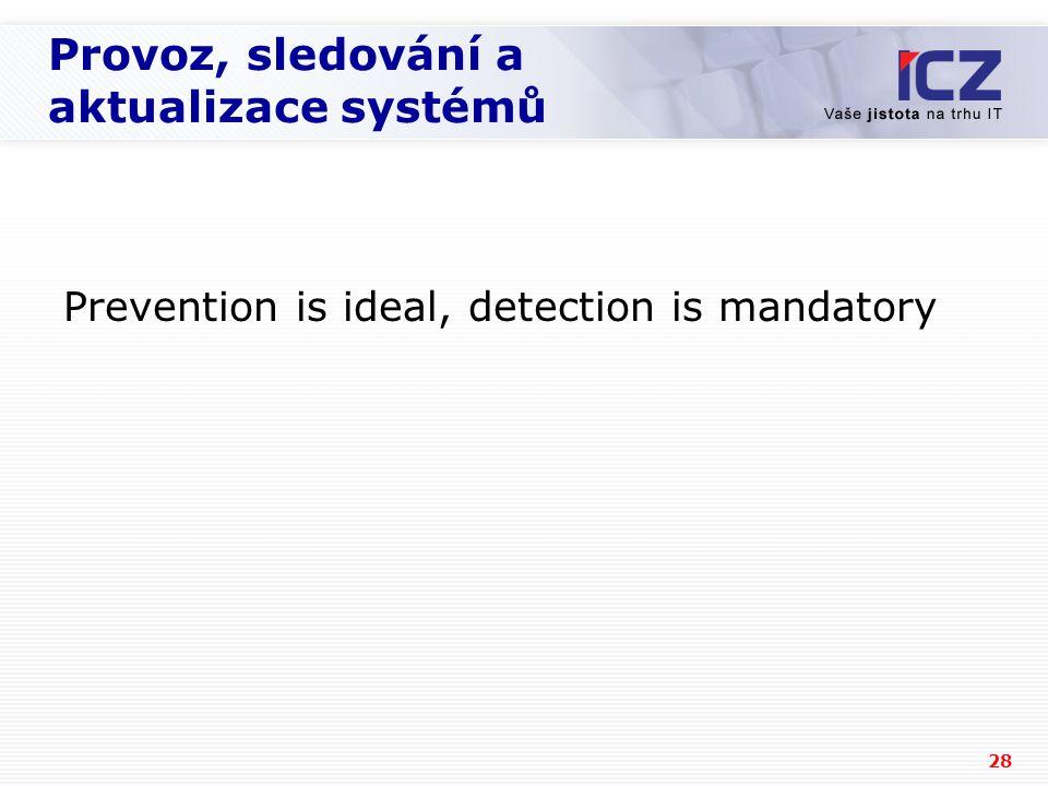 28 Provoz, sledování a aktualizace systémů Prevention is ideal, detection is mandatory