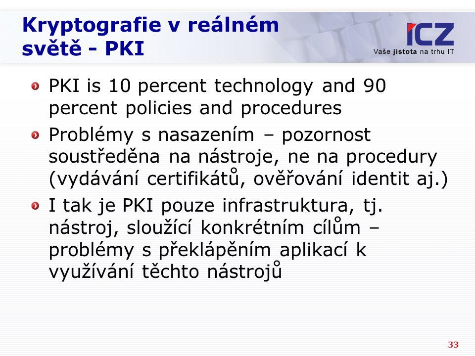33 Kryptografie v reálném světě - PKI PKI is 10 percent technology and 90 percent policies and procedures Problémy s nasazením – pozornost soustředěna na nástroje, ne na procedury (vydávání certifikátů, ověřování identit aj.) I tak je PKI pouze infrastruktura, tj.