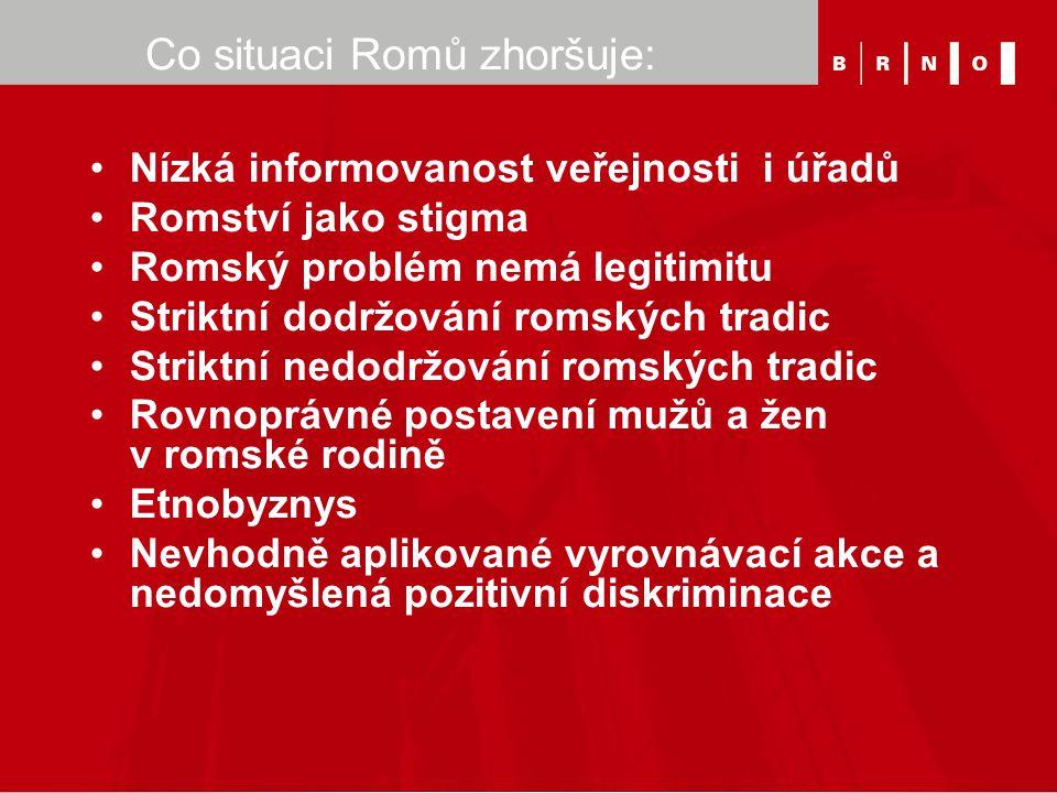 Co situaci Romů zhoršuje: Nízká informovanost veřejnosti i úřadů Romství jako stigma Romský problém nemá legitimitu Striktní dodržování romských tradi