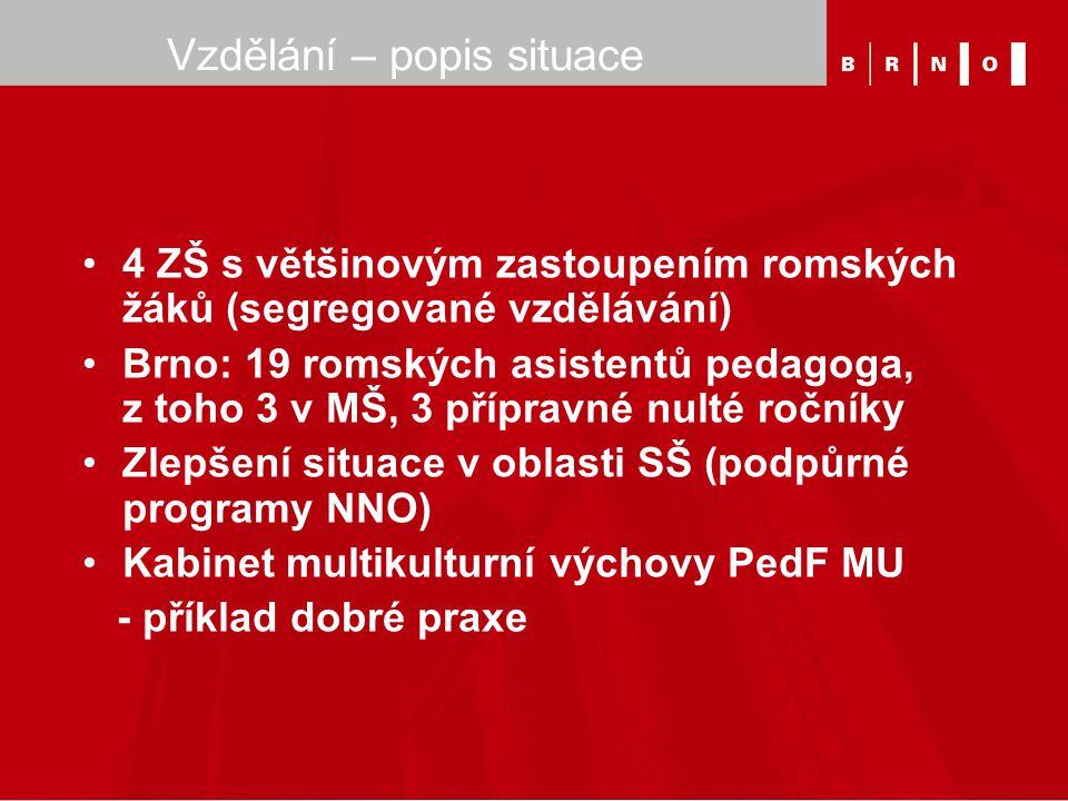 Vzdělání – popis situace 4 ZŠ s většinovým zastoupením romských žáků (segregované vzdělávání) Brno: 19 romských asistentů pedagoga, z toho 3 v MŠ, 3 p