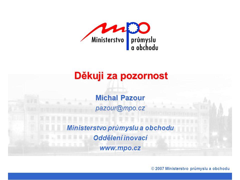 Michal Pazour pazour@mpo.cz Ministerstvo průmyslu a obchodu Oddělení inovací www.mpo.cz © 2007 Ministerstvo průmyslu a obchodu Děkuji za pozornost