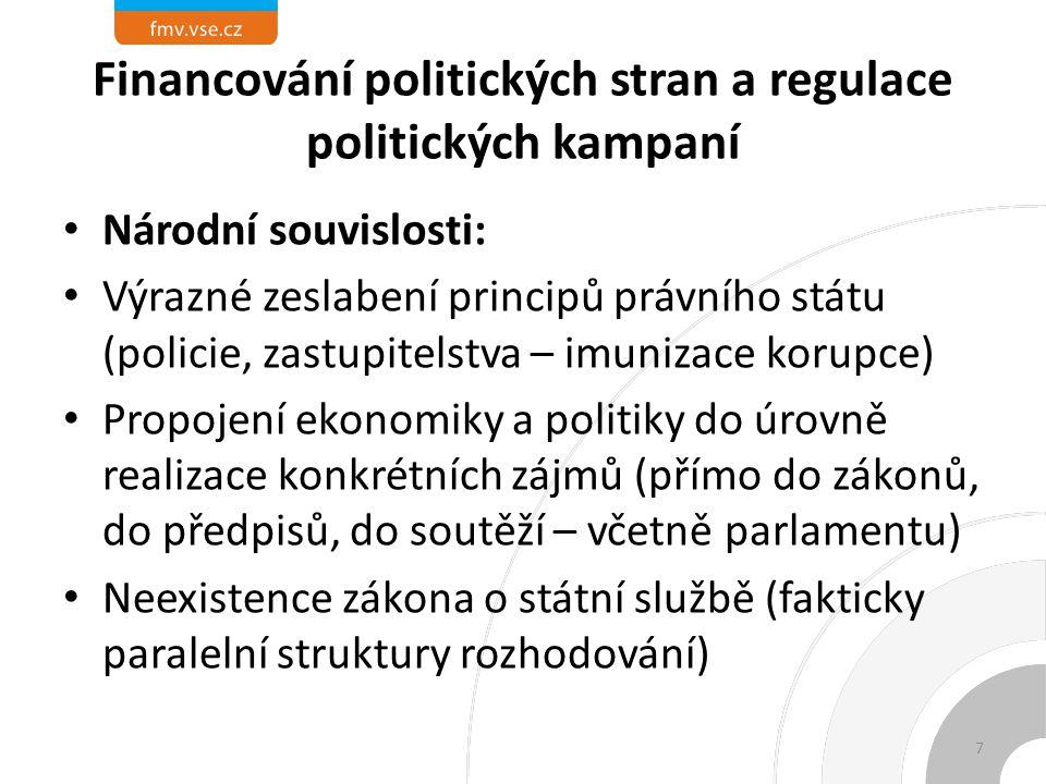Financování politických stran a regulace politických kampaní Neexistence koncepce politik (prostor pro prosazování dílčích zájmů) Příprava rozpočtu jako zdroje financování stran a nástroje politické konkurence i uvnitř vládní koalice Ztráta stranického vedení schopnosti kontrolovat regionální části strany 8
