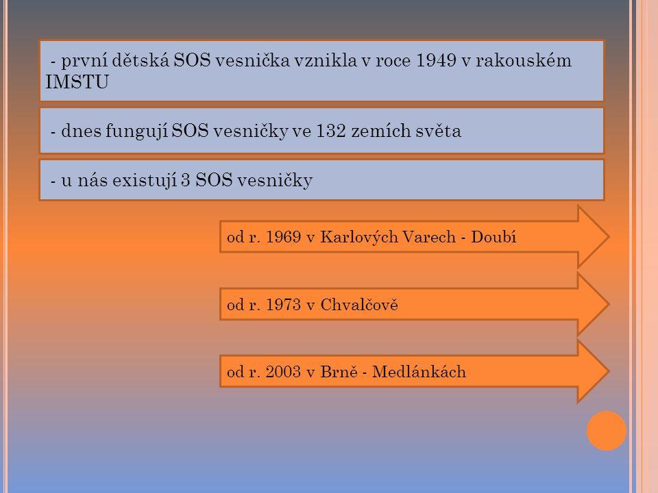 - první dětská SOS vesnička vznikla v roce 1949 v rakouském IMSTU - dnes fungují SOS vesničky ve 132 zemích světa - u nás existují 3 SOS vesničky od r