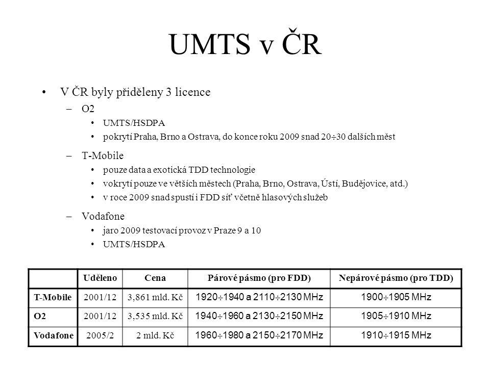 UMTS v ČR V ČR byly přiděleny 3 licence –O2 UMTS/HSDPA pokrytí Praha, Brno a Ostrava, do konce roku 2009 snad 20  30 dalších měst –T-Mobile pouze data a exotická TDD technologie vokrytí pouze ve větších městech (Praha, Brno, Ostrava, Ústí, Budějovice, atd.) v roce 2009 snad spustí i FDD síť včetně hlasových služeb –Vodafone jaro 2009 testovací provoz v Praze 9 a 10 UMTS/HSDPA UdělenoCenaPárové pásmo (pro FDD)Nepárové pásmo (pro TDD) T-Mobile2001/123,861 mld.