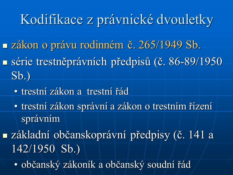 Kodifikace z právnické dvouletky zákon o právu rodinném č. 265/1949 Sb. zákon o právu rodinném č. 265/1949 Sb. série trestněprávních předpisů (č. 86-8