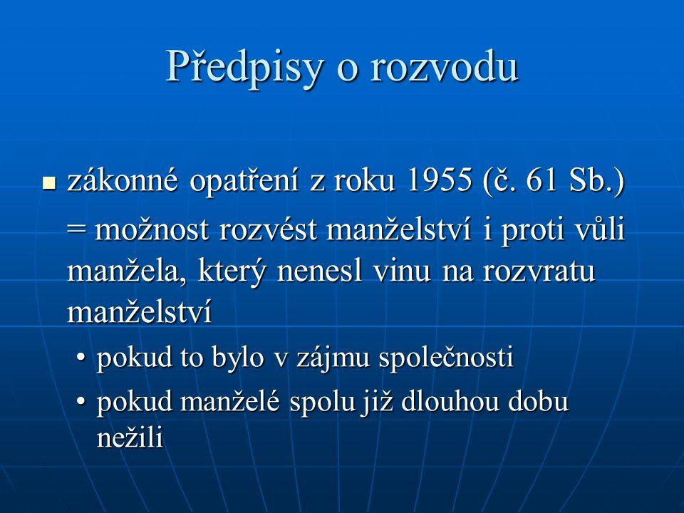 Předpisy o rozvodu zákonné opatření z roku 1955 (č.
