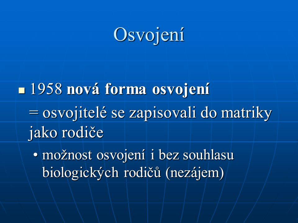Osvojení 1958 nová forma osvojení 1958 nová forma osvojení = osvojitelé se zapisovali do matriky jako rodiče možnost osvojení i bez souhlasu biologick