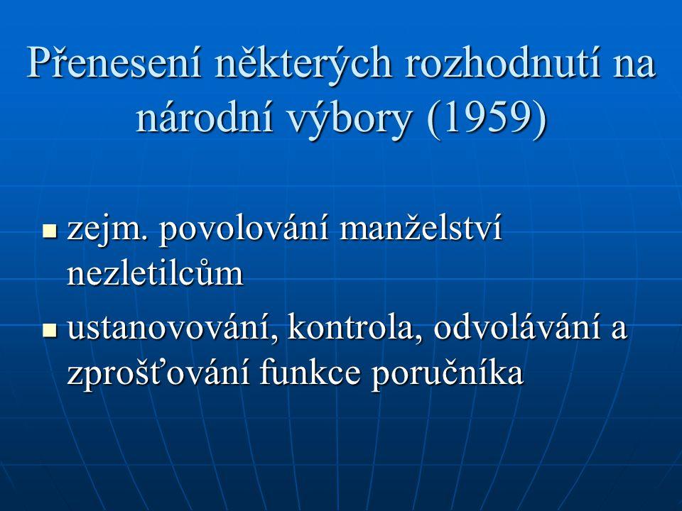 Přenesení některých rozhodnutí na národní výbory (1959) zejm. povolování manželství nezletilcům zejm. povolování manželství nezletilcům ustanovování,