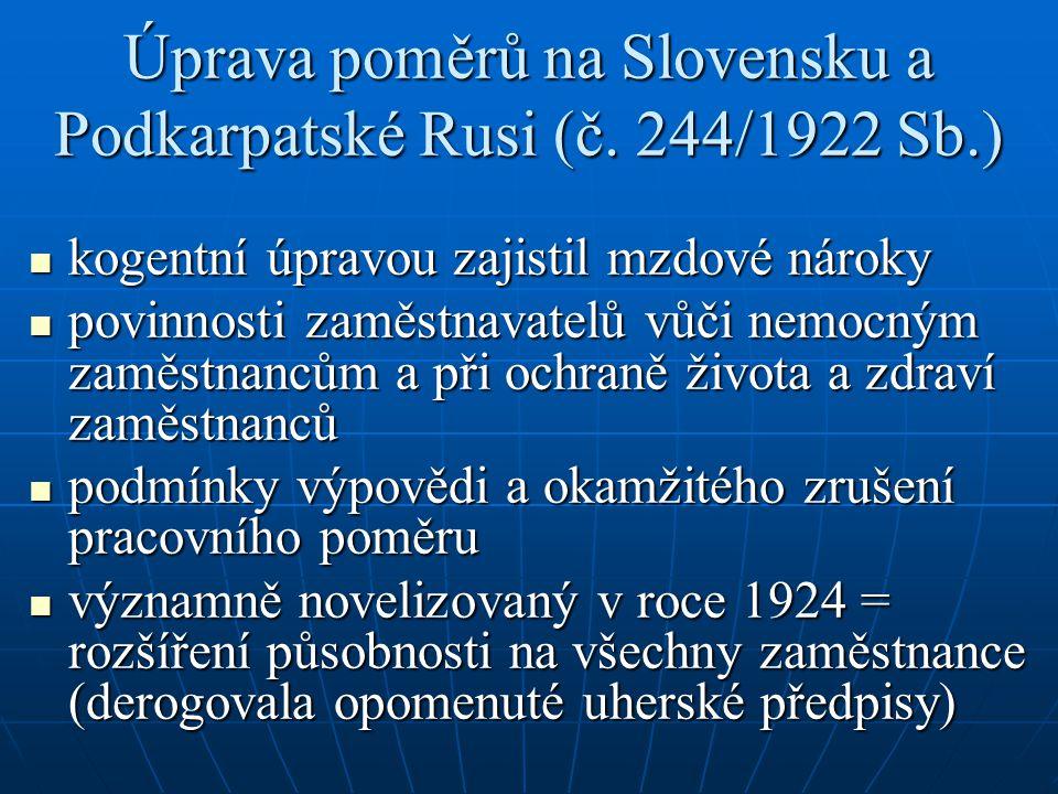 Úprava poměrů na Slovensku a Podkarpatské Rusi (č. 244/1922 Sb.) kogentní úpravou zajistil mzdové nároky kogentní úpravou zajistil mzdové nároky povin